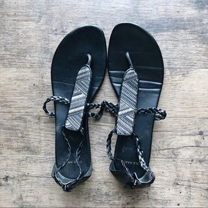 Cole Haan Shoes - (COLE HAAN) Black and white sandals sz 8.5